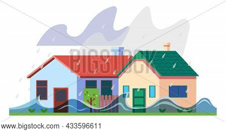 Rain Storm Flood, Heavy Shower And House, Natural Disaster, Vector Weather Damage. Rainstorm Or Rain