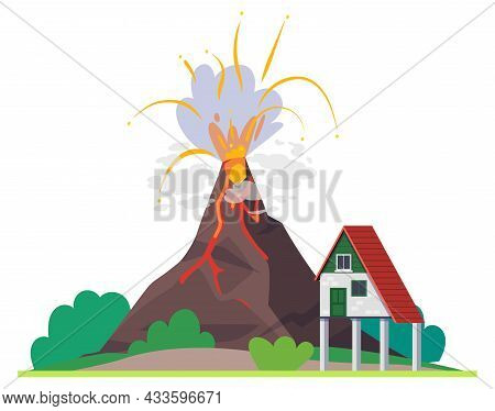 Volcano Eruption, Natural Disaster And Nature Cataclysm, Vector Lava Covering House. Volcano Eruptio