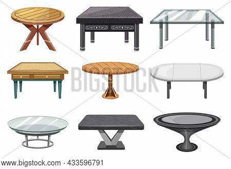 Tables, Furniture Of Interior Of Wood Or Glass, Vector Collection Set. Round And Square Table Desks