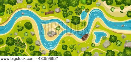 River In Forest, Map Aerial Top View, Valley Water Stream Landscape, Vector Background. Forest Park