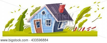 Hurricane Or Storm Wind Destroying House, Natural Disaster Damage, Vector. Typhoon Cyclone Or Tornad