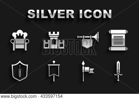 Set Medieval Flag, Decree, Parchment, Scroll, Sword, Spear, Shield With, Trumpet, Throne And Castle,