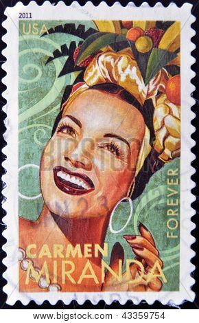 A stamp printed in USA shows Carmen Miranda