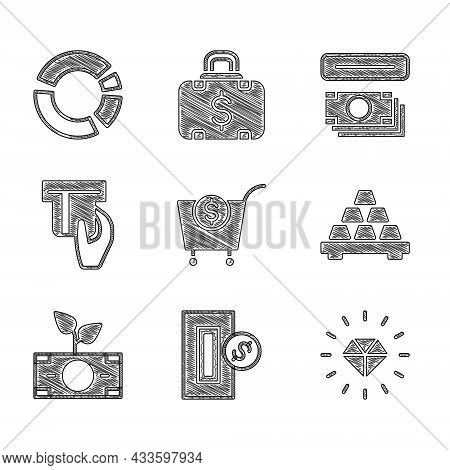 Set Shopping Cart And Dollar, Inserting Coin, Diamond, Gold Bars, Money Plant The Pot, Credit Card I