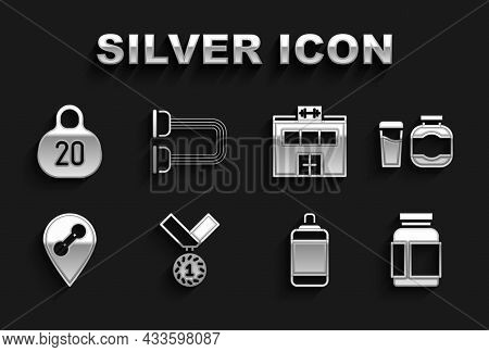 Set Medal, Sports Nutrition, Punching Bag, Location Gym, Gym Building, Kettlebell And Chest Expander