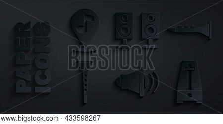 Set Speaker Volume, Clarinet, Metronome With Pendulum, Stereo Speaker And Location Musical Note Icon