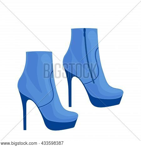 Fashionable Women S Half-boots With High Heels. Elegant Women S Shoes With A Blue Stiletto Heel. Vec