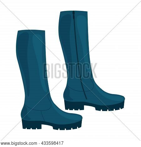 Fashionable Classic Women S Boots. Women S Shoes. High Women S Boots In Blue With Heels. Vector Illu