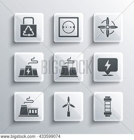 Set Wind Turbine, Battery, Lightning Bolt, Factory, Power Station Plant Factory, Paper Bag With Recy