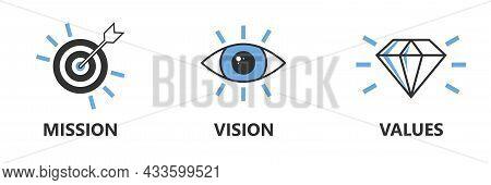Mission Vision Values Icon. Organization Mission Vision Values Icon Design Vector