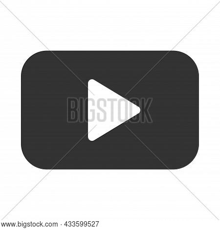 Play Button Icon In Trendy Flat Style Isolated On Gray Background. Play Symbol For Your Web Site Des