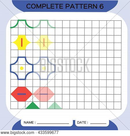 Repeat Pattern, Pazzle. Copy Picture. Special For Preschool Kids. Printable Kids Worksheet For Pract