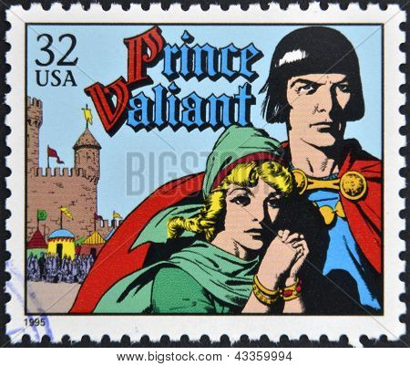 stamp printed in USA dedicated to comic strip classics shows Prince Valiant