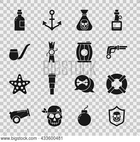 Set Shield With Pirate Skull, Lifebuoy, Vintage Pistols, Pirate Coin, Decree, Parchment, Scroll, Smo