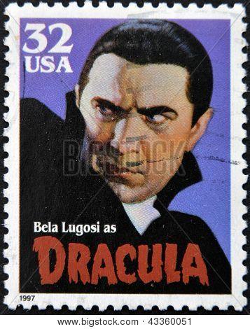 francobollo stampato negli Stati Uniti viene illustrato come Dracula Bela Lugosi