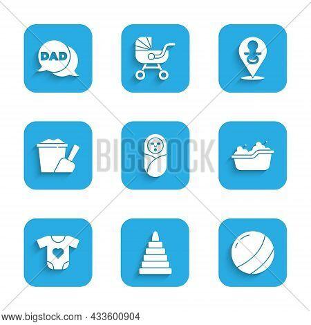 Set Newborn Baby Infant Swaddled, Pyramid Toy, Beach Ball, Baby Bathtub, Clothes, Sand Bucket With S