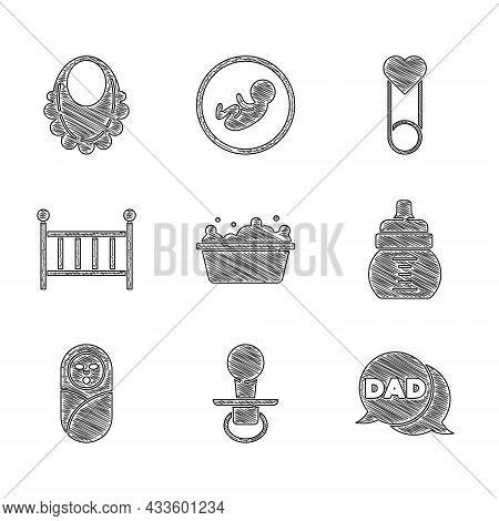 Set Baby Bathtub, Dummy Pacifier, Speech Bubble Dad, Bottle, Newborn Baby Infant Swaddled, Crib Crad