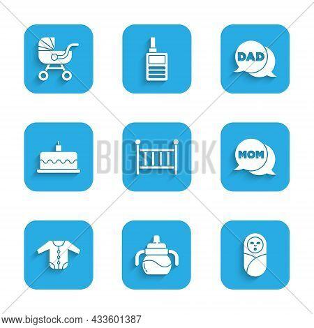Set Baby Crib Cradle, Bottle, Newborn Baby Infant Swaddled, Speech Bubble Mom, Clothes, Cake With Bu