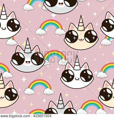 Cats Unicorns And A Rainbow. Unicorn Cats On A Blue Background. Seamless Texture