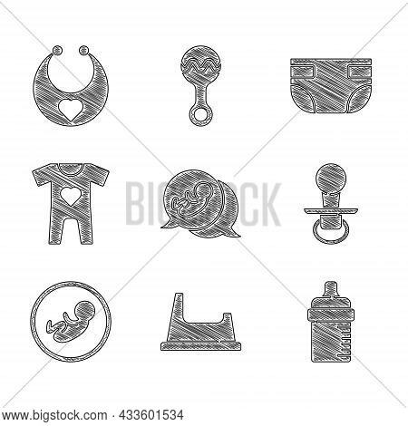 Set Baby, Potty, Bottle, Dummy Pacifier, Clothes, Absorbent Diaper And Bib Icon. Vector