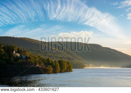Morning Landscape Of Mountain Lake At Sunrise. Beautiful Autumnal Countryside Scenery With Fog On Th