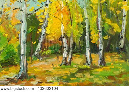 Oil Painting Of A Colorful Autumn Landscape. An Original Illustration Of A Birch Forest In Autumn. I
