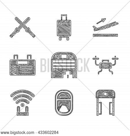 Set Aircraft Hangar, Airplane Window, Metal Detector Airport, Drone Flying, Router And Wi-fi Signal,