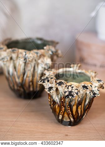 Decorative Ceramic Vase. Stylish Interior Home Design. Succulent And Cactus Plants In Pot