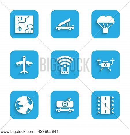 Set Router And Wi-fi Signal, Fuel Tanker Truck, Airport Runway, Drone Flying, Worldwide, Plane, Box
