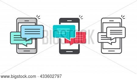 Icon Of Chatting Message On Mobile Cell Phone Notice Or Notification Set Line Outline Art And Flat C