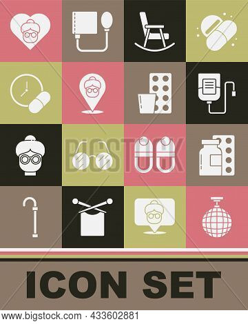 Set Disco Ball, Pills In Blister Pack, Iv Bag, Rocking Chair, Nursing Home, Medicine Pill Or Tablet,