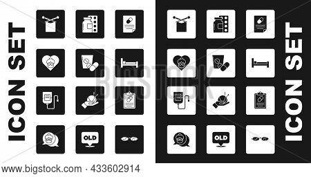 Set Medical Prescription, Medicine Pill Or Tablet, Grandmother, Knitting, Bed, Pills Blister Pack, A
