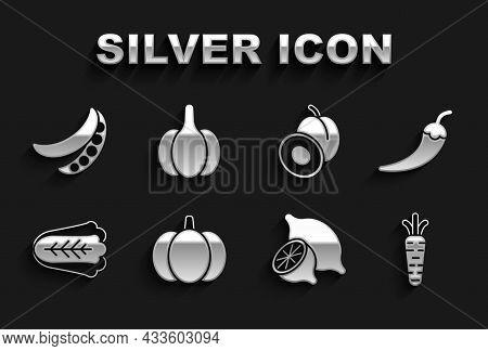 Set Pumpkin, Hot Chili Pepper Pod, Carrot, Lemon, Cabbage, Plum Fruit, Green Peas And Garlic Icon. V
