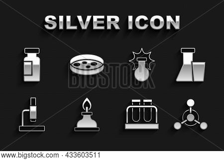 Set Alcohol Or Spirit Burner, Test Tube And Flask, Molecule, Microscope, Chemical Explosion, And Pet