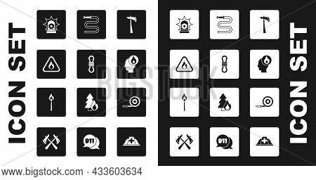 Set Firefighter Axe, Climber Rope, Flame In Triangle, Flasher Siren, Hose Reel, And Burning Match Wi