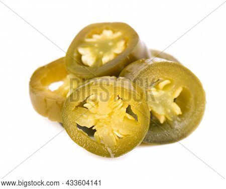 Pickled Jalapeno Pepper Isolated On White Background. Slices Of Preserved Hot Serrano.