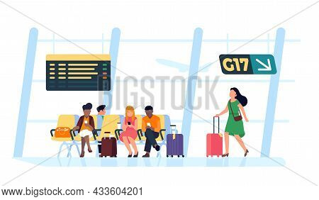 People In Airport Waiting Room. Departure Lounge. Passengers With Luggage And Suitcases Wait Flight.