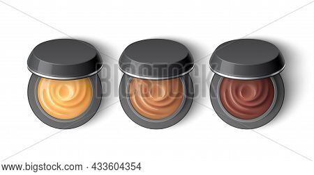 Cream Eyeshadow Top View. Realistic Half-open Jars With Cosmetic, Natural Brown Colors Professional