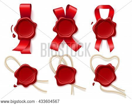 Wax Seal With Ribbons. Realistic Red Round Certification Imprints With Satin Ribbons And Twine, Empt