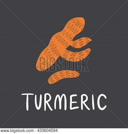 Turmeric Root With Lettering. Flat Hand Drawn Fresh For Healthy Food.