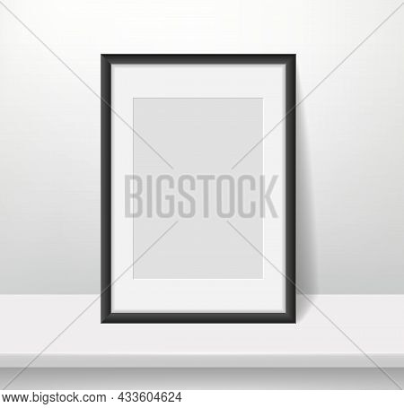 Realistic Frame On Wall Background. Blank Framed Picture Or Poster Mockup, Dark Plastic Border With