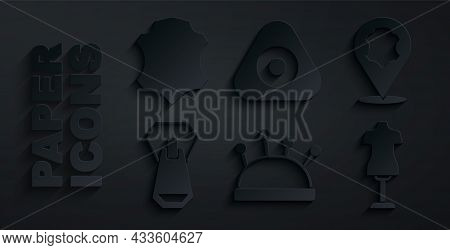 Set Needle Bed And Needles, Leather, Zipper, Mannequin, Sewing Chalk And Icon. Vector