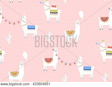 Llama Seamless Pattern. Birthday Party With Cartoon Alpacas, Baloons And Gifts. Vector Kids Pink Bac