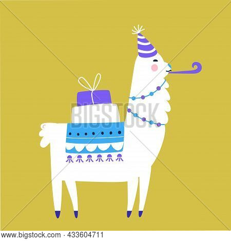 Birthday Llama With Gift Boxes And Party Hat. Cute Funny Alpaca Vector Illustration.