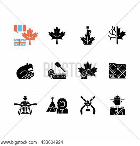 Canadian Symbols Black Glyph Icons Set On White Space. Official Canadian Emblem. North American Beav