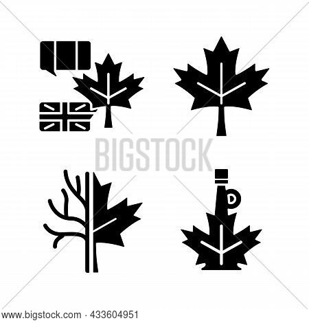 Maple Leaf Significance Black Glyph Icons Set On White Space. National Emblem Of Canada. Historic Ma