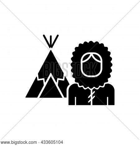 Inuit Population Black Glyph Icon. Indigenous Peoples Of Canada. Traditional Shelter Igloo. Northern
