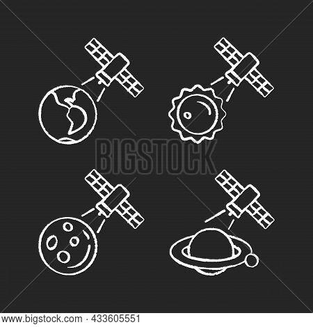 Celestial Bodies Observation Chalk White Icons Set On Dark Background. Heliophysics Science Investig