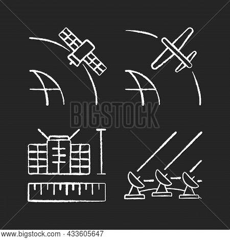 Satellite Technologies Chalk White Icons Set On Dark Background. Ground Satellite System. Geostation