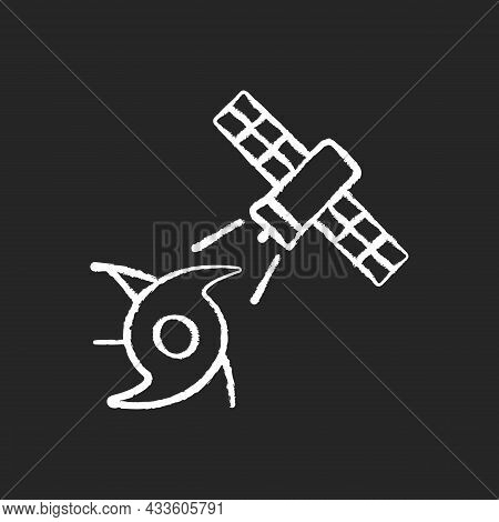 Weather And Climate Monitoring Satellite Chalk White Icon On Dark Background. Climate Change Investi